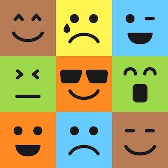 Zestaw dziewięciu kolorowych emotikonów. ikona emotikonów w kwadracie. płaski wzór tła. ilustracja wektorowa