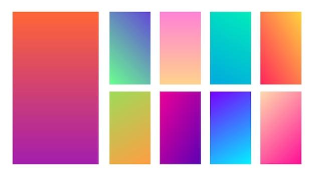 Zestaw dziewięciu kolorowych gradientowych środowisk. kolekcja gradientów dla ekranu smartfonów i aplikacji mobilnych. ilustracja wektorowa.