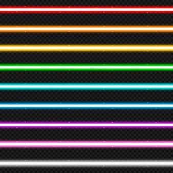 Zestaw dziewięciu kolorowych wiązek laserowych.