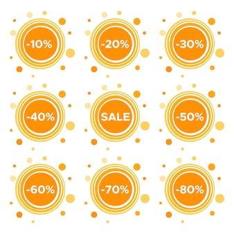 Zestaw dziewięciu naklejek sprzedażowych z różnymi wartościami rabatowymi. sprzedam szablon etykiety. ilustracja wektorowa