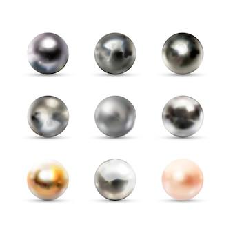 Zestaw dziewięciu realistycznych kulistych kul 3d wykonanych z różnych materiałów z odblaskami i odbiciem na białym