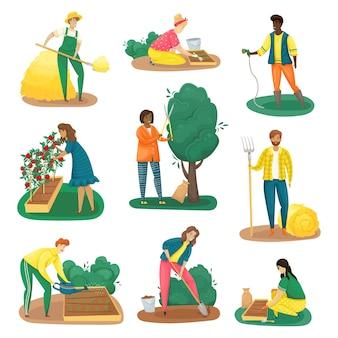 Zestaw dziewięciu rolników, którzy wykonują różne obowiązki związane z pielęgnacją ogrodu.