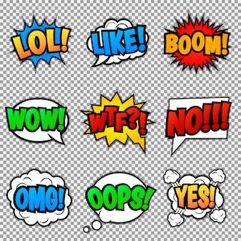Zestaw dziewięciu różnych, kolorowych naklejek na kolorowy komiks. pop-artowe dymki z lol, like, boom, wow, wtf, no, omg, oops, yes.