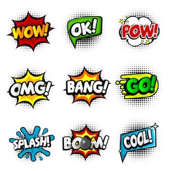 Zestaw dziewięciu różnych, kolorowych naklejek w kolorowym komiksie. pop-artowe dymki z mową z wow, ok, pow, omg, bang, go, splash, boom i cool.