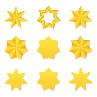 Zestaw dziewięciu różnych złotych gwiazd siedem punktów.