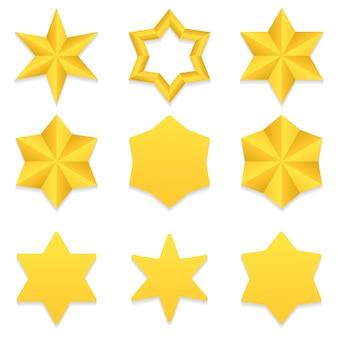 Zestaw dziewięciu różnych złotych gwiazd sześć punktów.