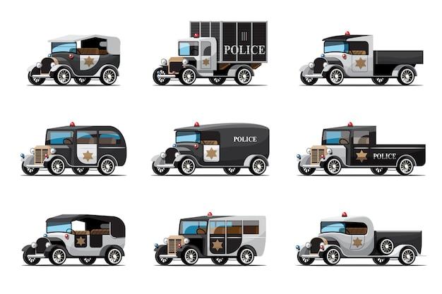 Zestaw dziewięciu samochodów policyjnych w stylu vintage lub antycznym stylu samochodów na białym tle