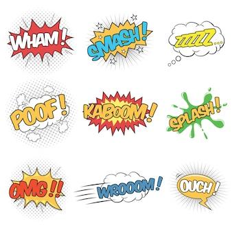 Zestaw dziewięciu słów efektów dźwiękowych dla komiksów dymek