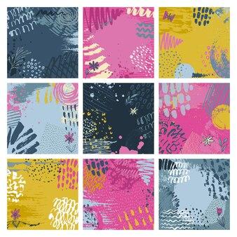 Zestaw dziewięciu streszczenie tło z ręcznie rysowane tekstury atramentu. szablony kartek, zaproszeń