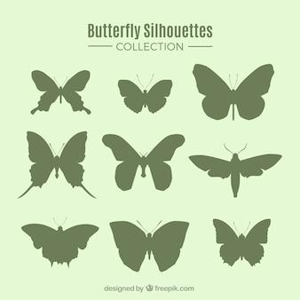 Zestaw dziewięciu sylwetki motyla