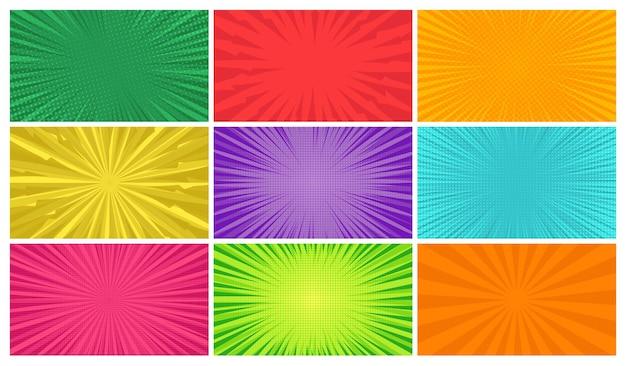 Zestaw dziewięciu tła stron komiksu w stylu pop-art z pustą przestrzenią. szablon z promieniami, kropkami i teksturą efektu półtonów. ilustracja wektorowa