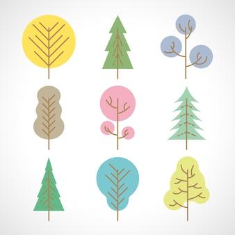Zestaw dziewięciu wielobarwnych drzew na białym tle. ilustracja wektorowa.