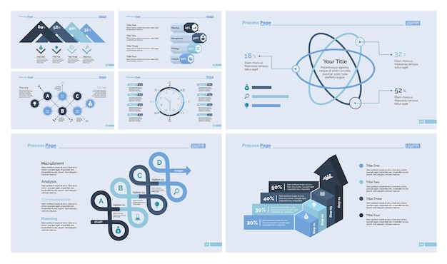 Zestaw dziewięciu zestawów slajdów biznesowych