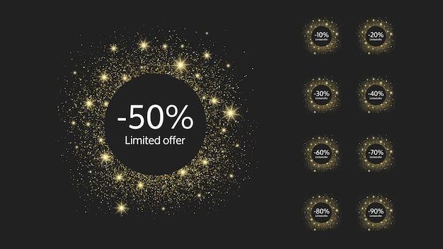 Zestaw dziewięciu złotych sztandarów z limitowaną ofertą z różnymi procentami rabatów od 10 do 90. białe cyfry w złotym błyszczącym kole na ciemnym tle. ilustracja wektorowa