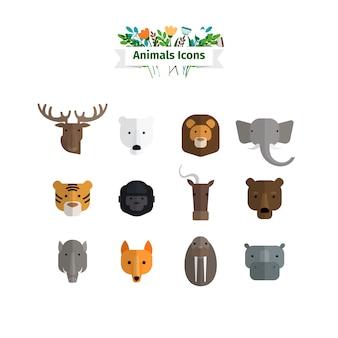 Zestaw dzikich zwierząt twarze płaskie awatary