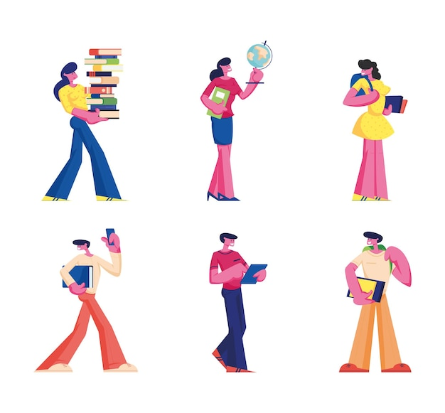 Zestaw edukacyjny. uczniowie i kobiety z książkami i nauczyciel z globusem przygotowują się do zajęć. płaskie ilustracja kreskówka