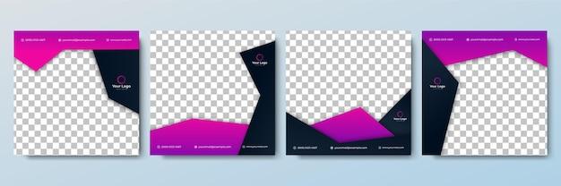 Zestaw edytowalnego minimalnego szablonu baneru kwadratowego. czarno-fioletowy kolor tła z kształtem linii paski. nadaje się do postów w mediach społecznościowych i internetowych reklam internetowych. ilustracja wektorowa z uczelnią fotograficzną