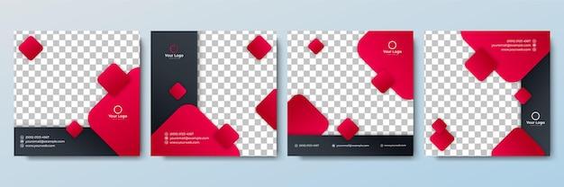 Zestaw edytowalnego minimalnego szablonu kwadratowego banera czarno-niebieski kolor tła