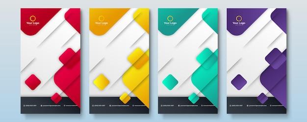 Zestaw edytowalnego szablonu banera historii mediów społecznościowych. multi kolor tła z geometrycznymi kształtami. nadaje się do postów w mediach społecznościowych i internetowych reklam internetowych. ilustracja wektorowa z uczelnią fotograficzną