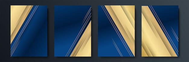 Zestaw edytowalnych szablonów dla historii mediów społecznościowych, szablonu postu, firmy, reklamy i biznesu, świeży design z prostym niebieskim złotym kolorem