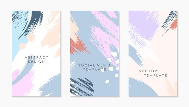 Zestaw edytowalnych szablonów historii insta z miejscem na tekst. nowoczesne układy wektorowe z ręcznie rysowanymi pociągnięciami pędzla i teksturami. modny design do marketingu w mediach społecznościowych, post cyfrowy, wydruki, banery.