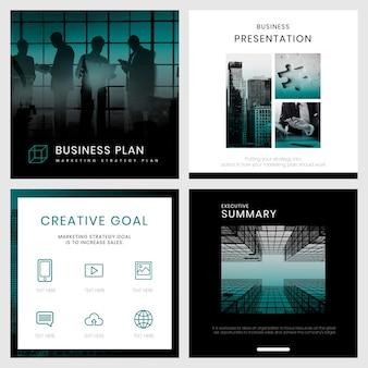Zestaw edytowalnych szablonów strategii marketingowej firmy