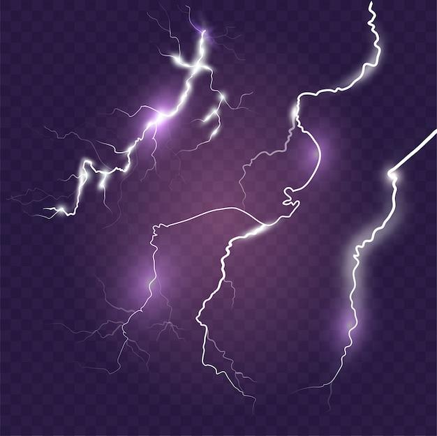 Zestaw efektów błyskawicy na niebieskim tle. magia burzy z piorunami i efekt jasnej błyskawicy. realistyczna ilustracja
