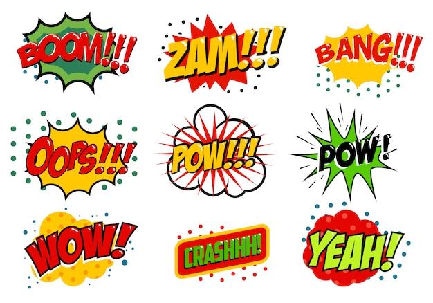 Zestaw efektów dźwiękowych w stylu komiksowym. ilustracja. zwroty w stylu pop-art. efekty tekstowe kreskówek.