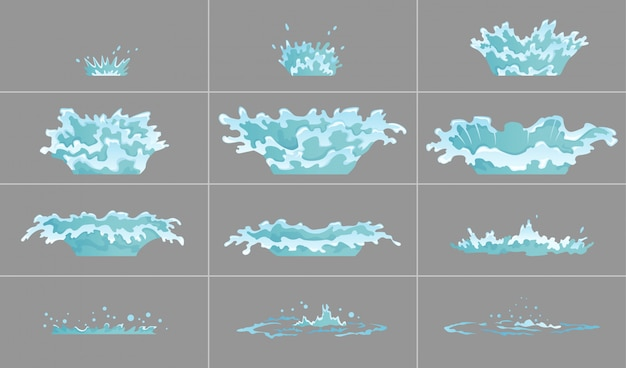 Zestaw efektów kapiącej wody