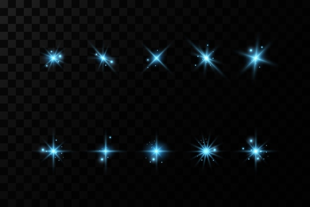 Zestaw efektów niebieskiego światła. neonowe magiczne światło, podświetlany wektor.
