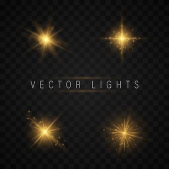 Zestaw efektów świetlnych. błyszcząca gwiazda. kolorowe światła bokeh świecą.