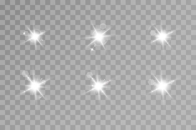 Zestaw efektów świetlnych. jasna gwiazda. jasne słońce.