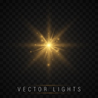 Zestaw efektów świetlnych. świecąca gwiazda, cząstki słońca i iskra
