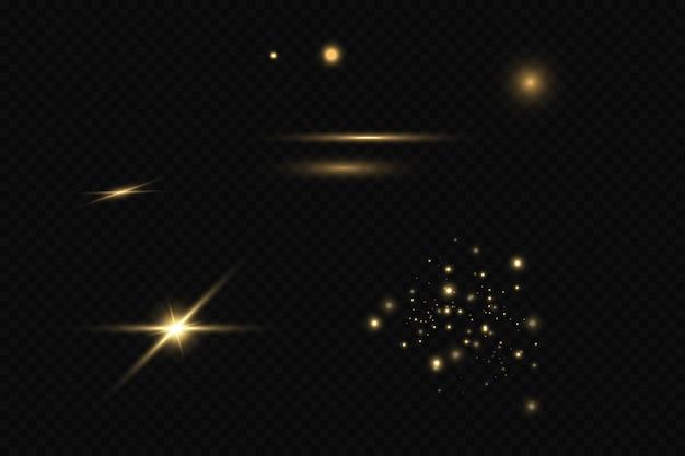 Zestaw efektów świetlnych złote gwiazdki błyszczące drobinki bokeh