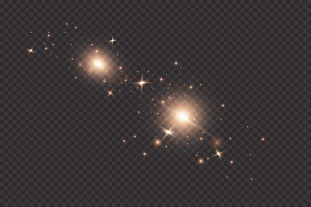 Zestaw Efektów Złotych świecących świateł Na Przezroczystym Tle. Błysk Słońca Z Promieniami I światłem Punktowym. Efekt świetlny Blasku. Gwiazda Wybuchła Iskierkami. Premium Wektorów