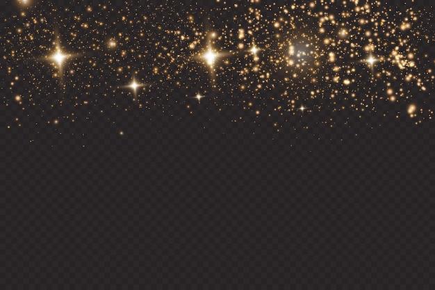 Zestaw efektów złotych świecących świateł na przezroczystym tle. błysk słońca z promieniami i światłem punktowym. efekt świetlny blasku. gwiazda wybuchła iskierkami.