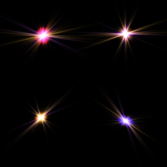Zestaw efektów złotych świecących świateł