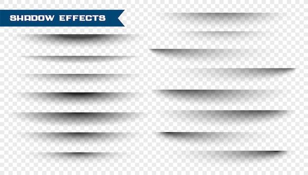 Zestaw efektu cienia papieru na przezroczystym
