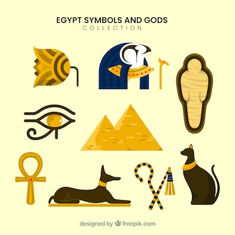 Zestaw egipskich bogów i symboli