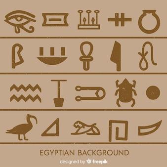 Zestaw egipskich symboli w płaskiej konstrukcji