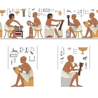 Zestaw egipskiego starożytnego symbolu elementu egipskiego culturedesign element