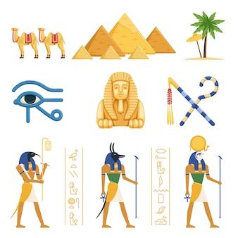 Zestaw egipt, egipskie starożytne symbole mocy faraonów i bogów kolorowe ilustracje na białym tle