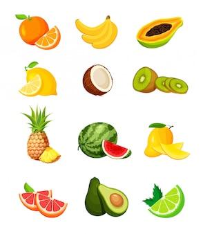 Zestaw egzotycznych owoców tropikalnych w modnym stylu płaskiej. wegańskie karmowe ikony odizolowywać na białym tle. świeży cały, pół, pokrojony plasterek i kawałek owoców.