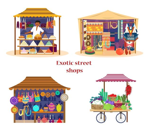 Zestaw egzotycznych ulicznych sklepów azjatyckich