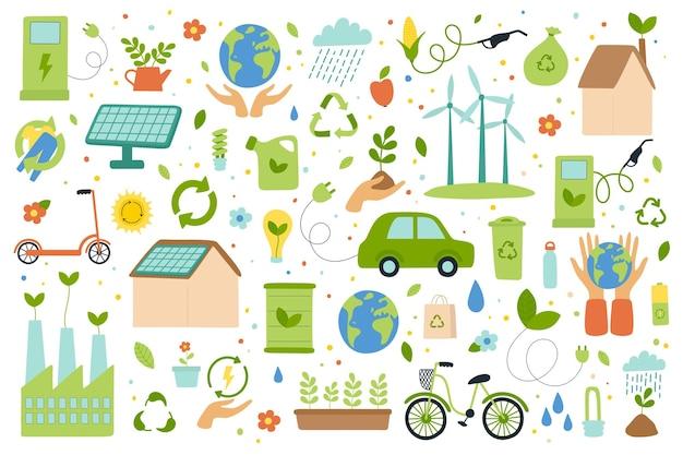Zestaw ekologicznego stylu życia, alternatywnej energii, troski o naturę. płaska ilustracja