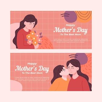 Zestaw ekologicznych banerów płaskich na dzień matki