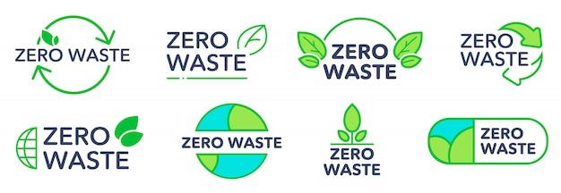 Zestaw ekologicznych logo zero odpadów