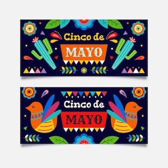 Zestaw ekologicznych płaskich banerów cinco de mayo
