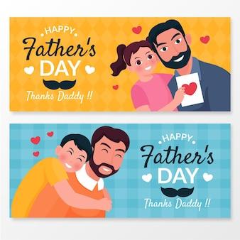 Zestaw ekologicznych płaskich banerów na dzień ojca