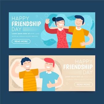 Zestaw ekologicznych płaskich międzynarodowych banerów przyjaźni